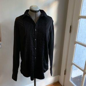 William Rast black tuxedo button down shirt, Sz M